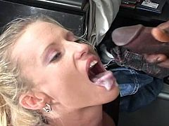 Monster cock wants this hot bitch to take it all the way down inside her twat in this tube video.