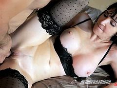 Check out this hardcore scene where the smoking hot milf Diana Prince is fucked by a guy with a large cock while wearing stockings.