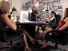 Kaylynn, Ashley Blue, Sophia Ferrari, Scarlet Haze and Michelle Raven wearing black stockings wanna have some fun. They help each other to reach orgasm poking their twats with dildos.