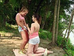 Maker sure you take a look at this amazing lesbian scene where these sexy ladies give you a boner as they have sex outdoors.