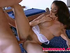 Have fun with this amazing hardcore scene where the beautiful Erika Bella ends up with her big natural tits covered by semen after being fucked by this guy.
