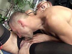 Bosomy and fat old whore fucks with her new young fellow hard
