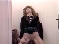 Nasty FFM threesome with two sluts in the bathroom