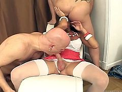 Take a look at this hot scene where these horny guys have a threesome with a hot shemale as they take turns blowing and fucking this tranny.