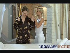 Massage Rooms brings you a hell of a free porn video where you can see how these sensual blonde lesbian belles munch their cunts while assuming very hot poses.