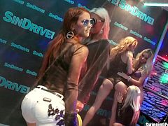 Lustful pornstars giving blowjob and getting fucked in public in a club. Watch as they are getting ready for some serious banging into their tight white pussies.