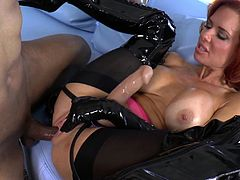 Robert Axel lets hot milf Veronica Avluv fuck his ass with a strapon