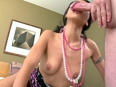 Check out this hot POV scene where the horny Lou Charmelle masturbates with a vibrator before deep throating a big cock until this guy cum in her mouth.