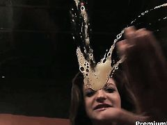 Italia Christie takes a dream shower in cumshot action