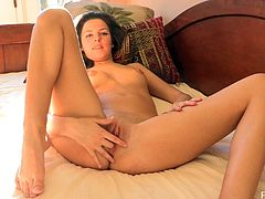 Brown-haired slut Carlie is playing dirty games in her room. She shows her holes close up for the cam, then pokes her fingers in her cunt and butthole.