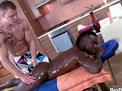 Take a nice look at this black guy, with a nice ass wearing a tank, while he gets his ass drilled hard by a lusty white dude after a massage.