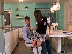 Have fun with this hardcore scene where the beautiful teen Foxy Di is fucked by her tutor after taking off her school uniform.