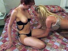 Two uninhibited bitches provide hunky dude with great blowjob and busty blondie rides his pecker in a reverse cowgirl pose. Thereafter redhead wench gets nailed mish.