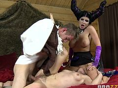 The gorgeous Romi Rain and Violet Monroe wears some sexy costumes in this sexy FFM threesome and get completely drilled by a huge cock.