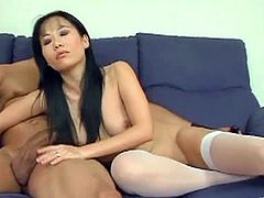 Entertain yourself by watching this Asian brunette, with a nice ass wearing nylon stockings, while she gets banged hard and moans like a wild pornstar.