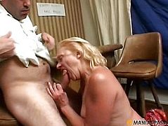 The old woman sucks dick in a young male