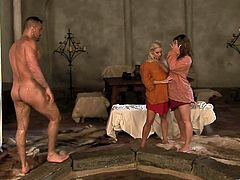 Two adorable ladies provide butty with awesome blowjob and blondie rides his erected prick in a cowgirl pose. Then brunette sweetie gets doggyfucked until dude gives them a facial cumshot.