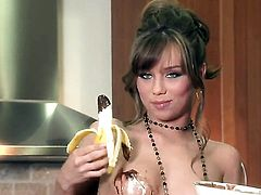 Capri Anderson with small tities and smooth beaver gets the pleasure from pussy dildoing