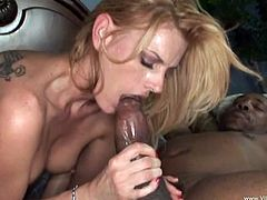 Blonde Milf with tattoo fisted and gets cunt licking in interracial fucking. Slut rides huge black cock and then takes cumshot in mouth after blowjob
