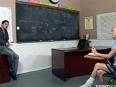 Sexy teenage babe Elaina Raye is ready for some hardcore banging with her horny teacher. He wanted her for a long time and sticked his meaty cock in her pussy.