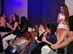 Horny black dude is having fun with a bunch of horny chicks at this hardcore sex party. They all switch turns to blow his cock and he is ready to destroy white pussy.