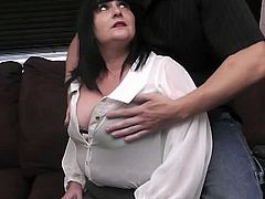 BBW Pickup brings you a hell of a free porn video where you can see how this alluring BBW brunette sucks and gets her cunt banged very hard into a massive orgasm.