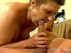 Chubby granny gives head before riding hard dick in reverse cowgirl position