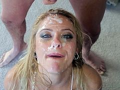 Captivating blonde Cameron Canada is trying to satisfy a lot of men at a time. The studs poke their cocks deep in Cameron's mouth, then use the bitch's face as a cum target.