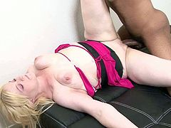 Fat ugly blondie gets her wet kitty fucked in various styles by black dude