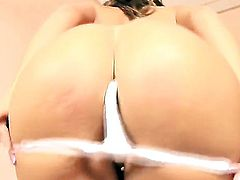 Lora Craft with juicy melons and hairless beaver does striptease before she sticks toys in her slit