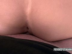 Penelope Sky has her horny twat stretched wide with cock after she sucks on it to make it throb. She's wearing a sexy schoolgirl uniform for this particular scene.