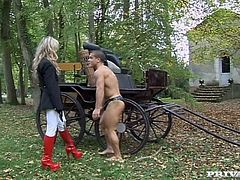 Go wild as you watch this blonde femdom, with a nice ass wearing red high heels, while she has rough sex outdoors in a reality video.