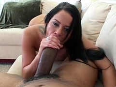 Insatiable tattooed enchantress obediently stands on her knees in front of bastard working on his monster black cock with her hands and mouth until getting a load of cum.