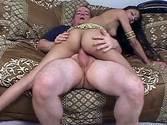 Go wild as you watch this Indian brunette, with natural tits wearing a traditional costume, while she gets her shaved pussy licked and fucked hard.