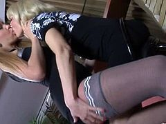 Amelia B. and Aubrey Lezzy go for kissing and pussy fingering. Amelia a a young babe, while Aubrey is a mature milf. Amelia is the one who finger-fucks Aubrey's pussy.