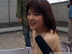 This wild and free Japanese girl ended up on a crazy game show where she got fucked by two guys out in public as people watched.