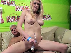 Sexy Blonde Babe Gets Her Pussy Toyed And Rides A Big Cock