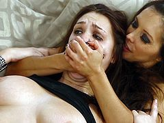 The sexy babes Francesca Le and Holly Michaels enjoy getting their cute faces hardcore fucked in this nasty FFM threesome.