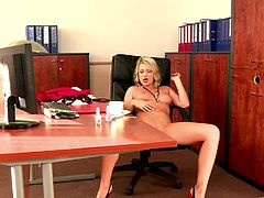 Lucy Heart is sitting on the chair with her legs wide apart. She slides her hand down to her clit and strokes it until her lover shoves his dick into her mouth.