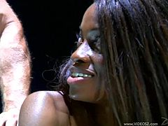 Take a look at this amazing hardcore scene where the beautiful ebony babe Monique is eaten out by this guy before he drills her sweet black pussy.