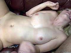 Dirty slut with perky tits is gangbanged by brutish porn studs
