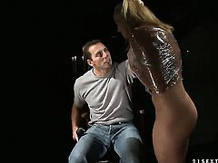 Blonde Kathia Nobili gags on sturdy tool of hot fuck buddy