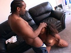 Chubby black chick gets her pussy eaten out and fucked hard