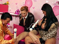 Dude, here are Tarra White, Carmen Croft and Jordan Verwest to show you off their curves. They demonstrate their big natural knockers and rub their cunnies with vibrators.