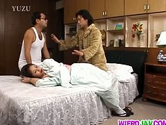 Checkout this busty mature Asian, Miho Aikawa with lots of hair on her wet tight pussy, getting busted by two cocks in this threesome action. Asian's have such tiny pussies. It's always a treat to watch their tiny pussies getting dicked. Watch this mature hairy pussy getting fucked by two dicks and finally gets a cumshot on her tits. Enjoy!