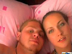 Gorgeous Russian amateur in a sexy panties with small tits in a homemade POV shoot yelling in ecstasy as he rubs her pussy