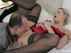 Check out this amazing hardcore scene where the beautiful blonde Barra Brass is fucked while wearing sexy lingerie until she's covered by semen.