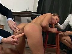 Slutty secretary gets kinky dildo test