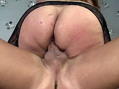 Take a look at this fat whore with giant breasts while she gets her pussy drilled like never before. See her getting all of her fantasies fulfilled.