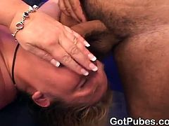 This blonde milf is a little chubby and has huge boobs. She gets drilled in her butt crack rough. This guy makes her sweat by fucking her so hard and deep.